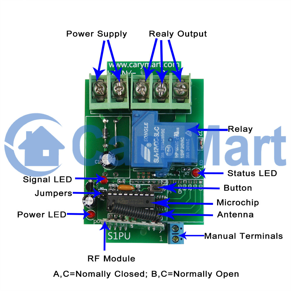 1 Channel 30a High Power Universal Remote Control Rf Receiver Dc 6v Supply With 12v Relay Diagram And Circuit 9v 24v