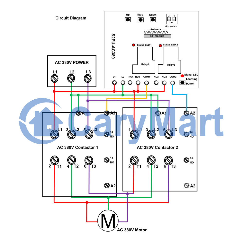 2 Channel Relay Output With Two Contactors Control Three Phase Circuitdiagramofthreephaseacvoltagecontroller Ac220v 380v Motor Price Us 10200
