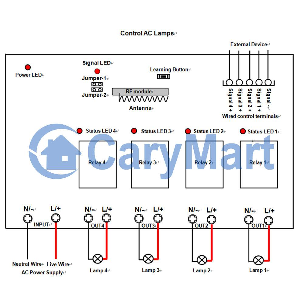 4CH 110V or 220V 10A AC Power Output RF Remote Control Receiver - 4 ...