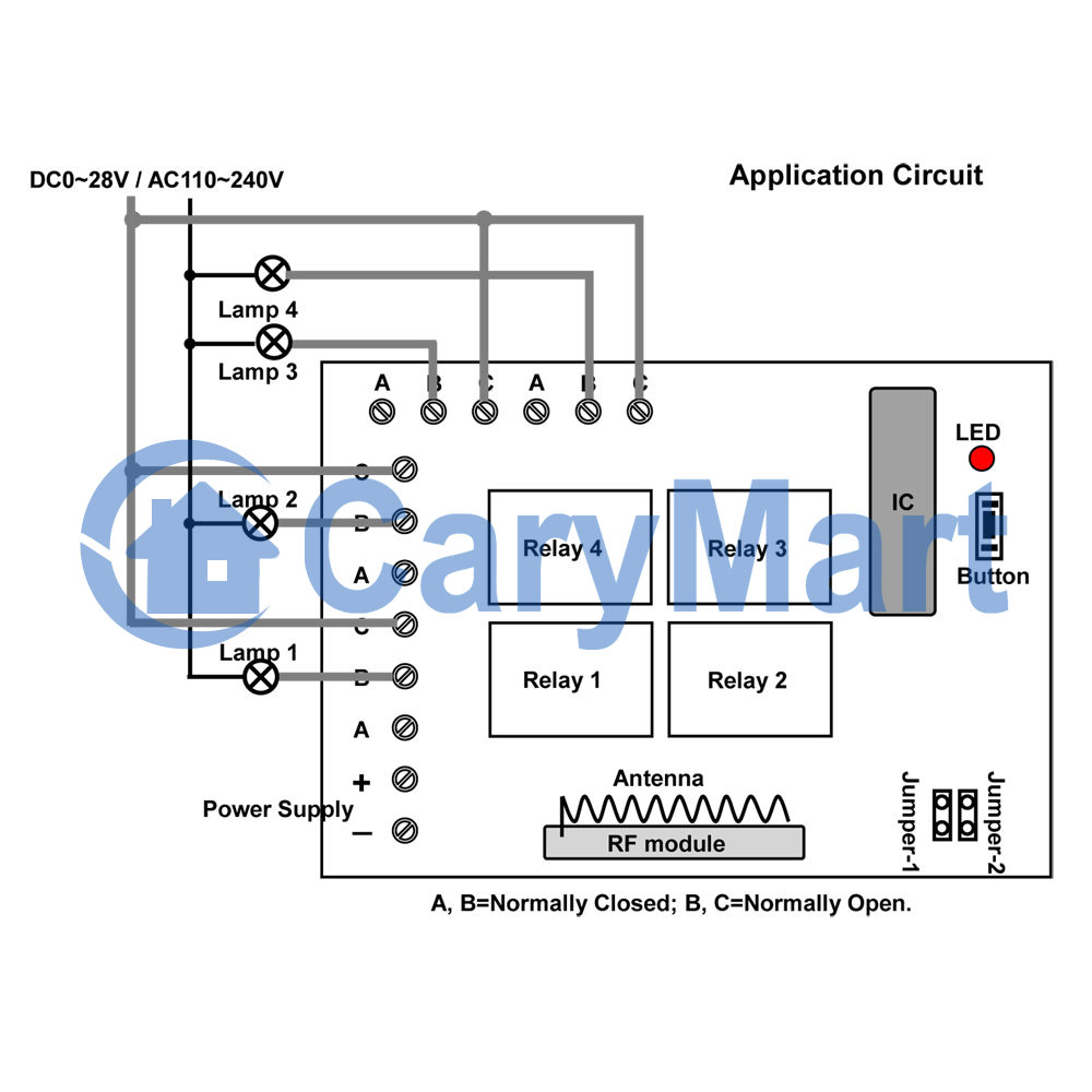 4 Relays 9v 12v 24v Rf Wireless Memory Remote Control System Relay On And Off The It Self Is Turning A 220vac Circuit