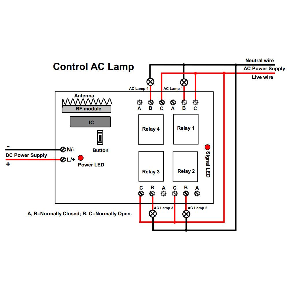 Dc 6v 9v 12v 24v 4 Relay Output No Nc Receiver And Wireless Transmitter Diagram Price Us 3700