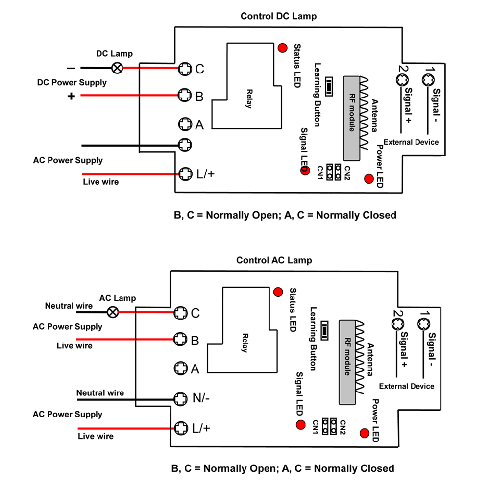 Dry Contact Input Transmitter Remote Control Receiver With Relay Output Normally Open Diagram Price Us 8000