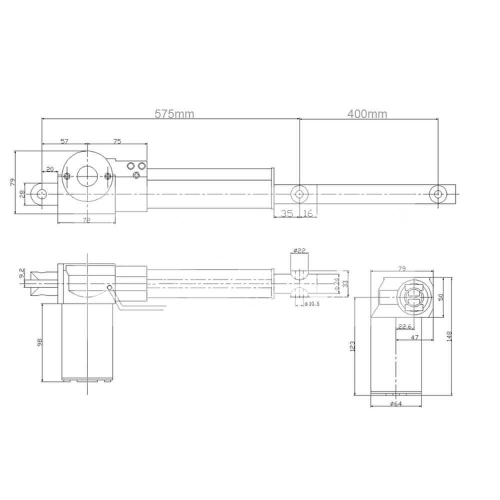 16 400mm Electric Cylinder Max Lift 2000n 400 Pound 200kg 12 Volt Linear Actuator Wiring Diagram 12v 24v Dc Price Us 8500